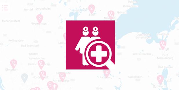 Karte mit Piktogramm von zwei Ärzten und einer Lupe