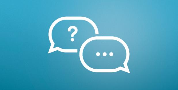 Zwei Sprechblasen: eine mit einem Fragezeichen, eine mit drei Punkten als Symbol für eine Antwort